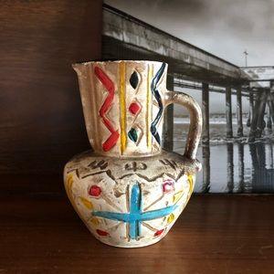 Vintage Hand Painted MINI Pitcher Pottery Bud Vase